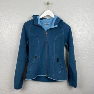 Moving Comfort Size S Blue Fleece Hooded Jacket